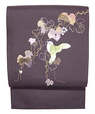 山葡萄に青い鳥の刺繍名古屋帯