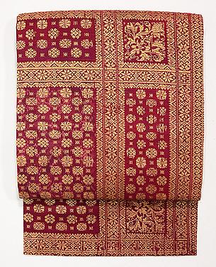 インドネシア 絣に紋織りの名古屋帯