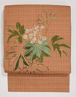 ヤツデの刺繍名古屋帯