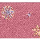 雪の結晶ビーズワークの名古屋帯 赤 前柄
