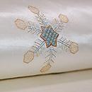 雪の結晶ビーズワークの名古屋帯 白 質感・風合