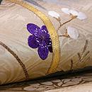 綸子地に梅と竹刺繍名古屋帯 質感・風合