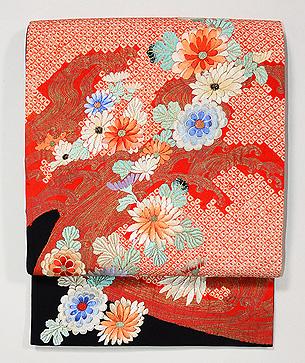 流水に菊文刺繍袋帯