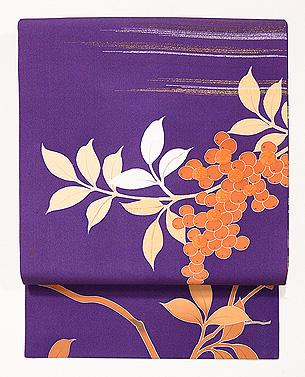 紫地南天の染名古屋帯