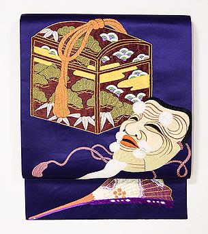 翁の図刺繍開き名古屋帯