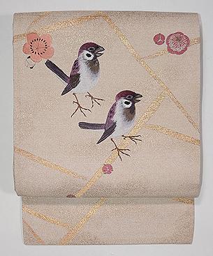 梅にペア雀の刺繍名古屋帯