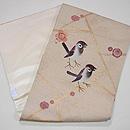 梅にペア雀の刺繍名古屋帯 帯裏