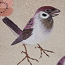 梅にペア雀の刺繍名古屋帯 質感・風合