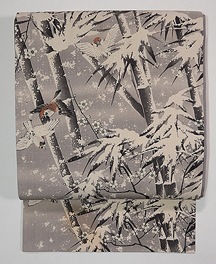 雪持ち笹に雀縮緬地名古屋帯