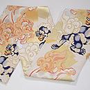 破れ色紙に唐獅子文様袋帯 質感・風合
