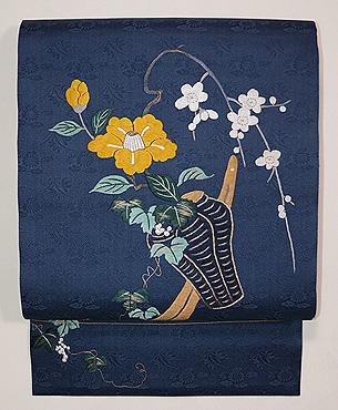 青地花筏の刺繍名古屋帯