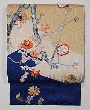 折れ梅に菊の刺繍名古屋帯