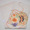 秋の花に雅楽文様刺繍絽縮緬名古屋帯 帯裏