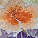秋の花に雅楽文様刺繍絽縮緬名古屋帯 質感・風合