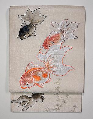 金魚刺繍袋帯