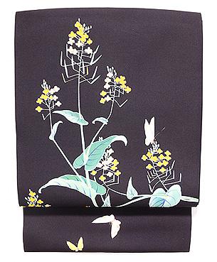 すがれ菜の花の黒塩瀬名古屋帯