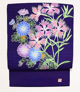 菊に撫子の夏名古屋帯