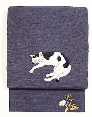 眠り猫の刺繍名古屋帯
