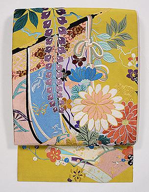 四季の花の刺繍綴れ袋帯
