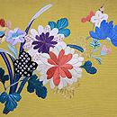 四季の花の刺繍綴れ袋帯 前柄