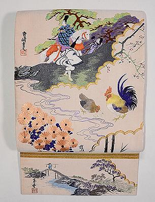 「日本画」綴れ袋帯