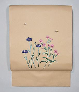 撫子と矢車草刺繍の名古屋帯