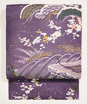 紫地江戸裂絽名古屋帯