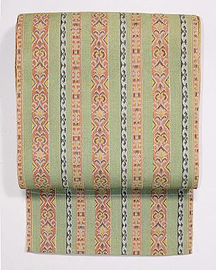 若草色縞織紗開き名古屋帯