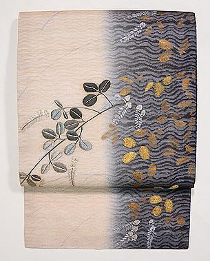 萩の刺繍水衣名古屋帯