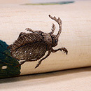 落ち葉にカブトムシ刺繍名古屋帯 質感・風合