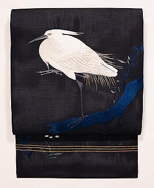 柳にとまる白鷺の図刺繍絽名古屋帯