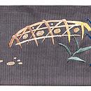 柳にとまる白鷺の図刺繍絽名古屋帯 前柄