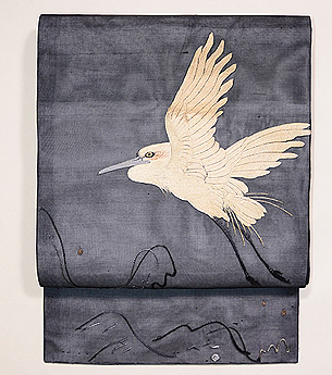 波に白鷺の図刺繍紗名古屋帯