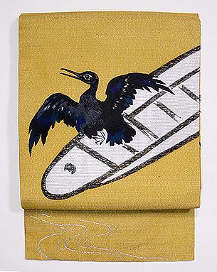 鵜の図銀糸織夏名古屋帯