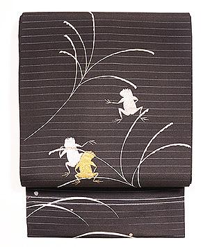 蛙金銀刺繍絽名古屋帯