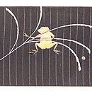 蛙金銀刺繍絽名古屋帯 前柄