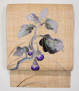 麻地ナスの刺繍名古屋帯