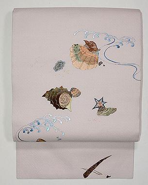 波と貝の刺繍名古屋帯