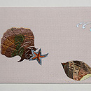 波と貝の刺繍名古屋帯 前柄