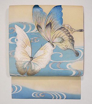 蝶ファミリーの刺繍夏袋帯