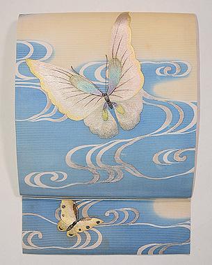 蝶の刺繍夏名古屋帯