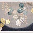 満月に萩の刺繍夏帯 前柄