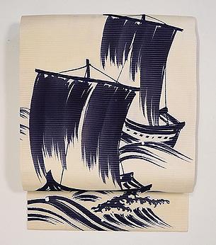 海原に帆船の名古屋帯
