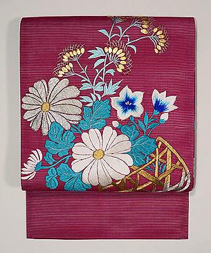 ツツジ色花籠の夏帯