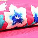 ツツジ色花籠の夏帯 質感・風合