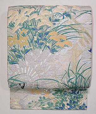水車と野の花文様織り名古屋帯