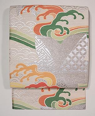 青海波、波頭に七宝楓文様夏袋帯