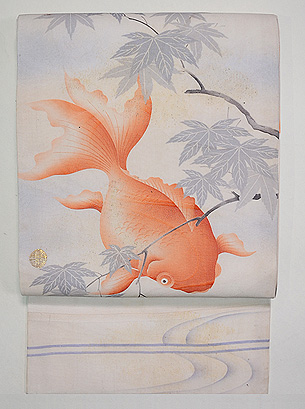 金魚の染名古屋帯