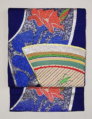 扇面に菖蒲とキリギリス夏袋帯