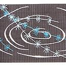 絽黒地御簾に鯉の図刺繍夏帯 前柄